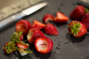 Cut and cored strawberries