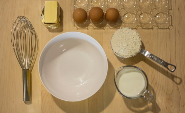Layout of crepe ingredients
