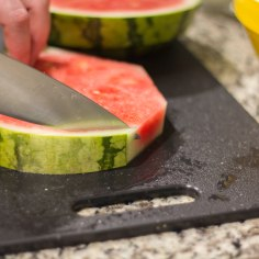Cutting Rind off Watermelon
