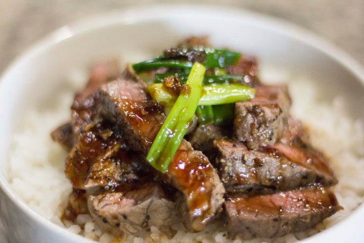 Close up of Meat and Rice Bowl