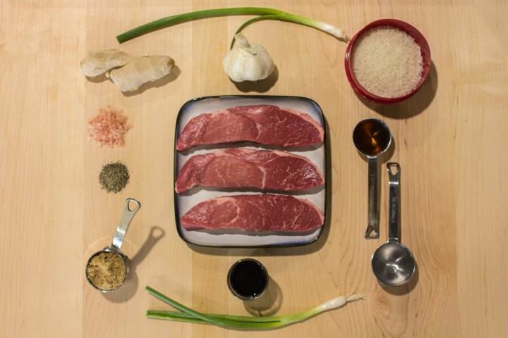 Meat and rice Bowl Ingredients