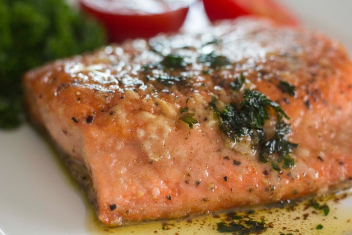 salmon meuniere close up