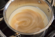 Add vanilla and milk to a pan